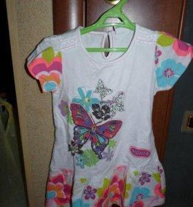 """На возраст 5-6 лет красивое белое платье """"бабочка"""""""