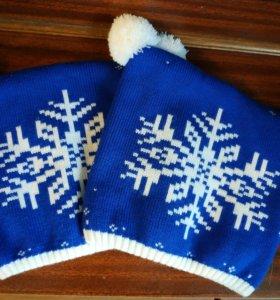Парные шапки новогодние