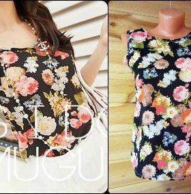 блузка-топ с цветочным рисунком размер 40-44