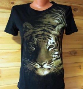 футболка с рисунком тигра размер 40-44 пересылаю