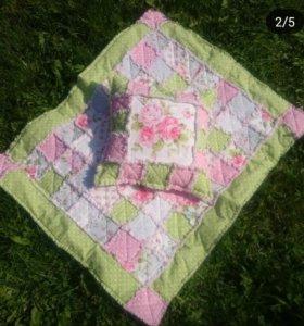 "Комплект лоскутное одеяло и наволочка ""Шебби-шик"""