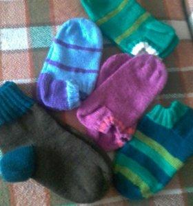 носки  тапочки вязаные