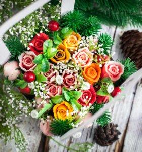 Новогодний букет из мыльных роз