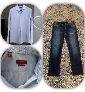 Фирменная рубашка Италия как новая джинсы