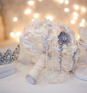 Букет невесты.Корона.Бутоньерка