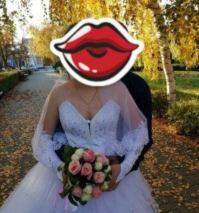 Свадебное платье+шубка+перчатки