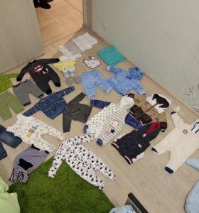 Детские вещи зимние, теплые, футболки, слинг 45 шт