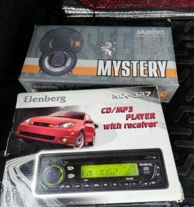 Автомагнитола и аудио колонки.