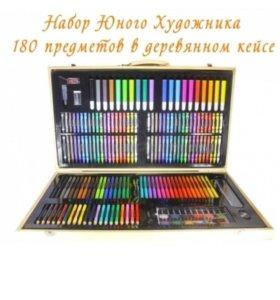 Набор художника 180 предметов в деревянном чемодан