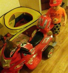Большой детский электоромотоцикл с багажником!!!