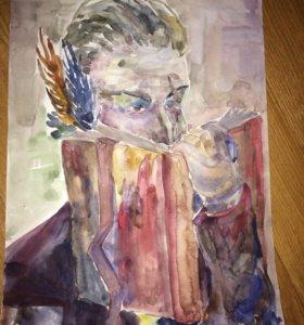 Картина «Подозрительный господин с книгой»