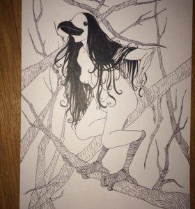 Картина «Женщина-ворона»