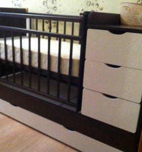 Детская кровать-трансформер с матрасом