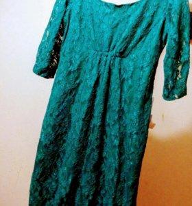 Платье ажурное зеленое