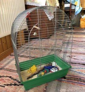 Клетка для попугаев с игрушками