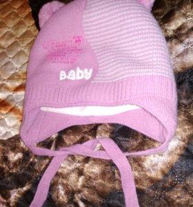 Зимняя шапочка для малышки 42-44р.
