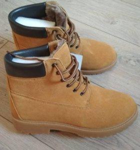 Зимние ботинки натур замша. Новые