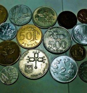 иностранные монеты с изображением флоры. растений.