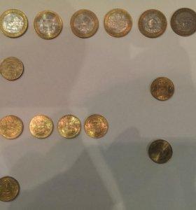 Монеты 10 рублей разные