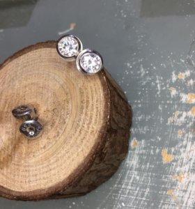 Серьги USA кристаллы/сваровски