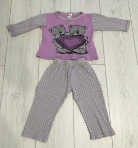 Детская пижама на девочку 2-3 года