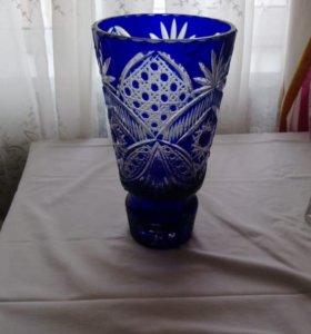 Синяя Хрустальная ваза