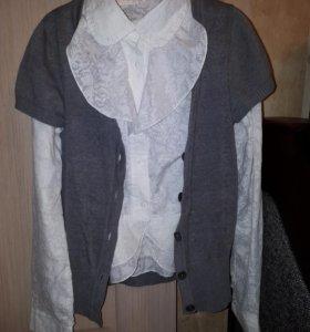 Белоснежная блузка + безрукавка