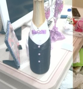 Оформление свадебных бокалов,свечей, бутылок
