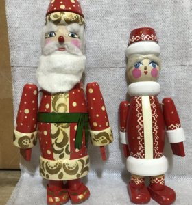 Деревянная игрушка «Дед Мороз и Снегурочка» ручной