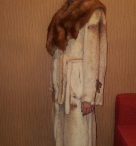 Шуба норка с воротником из лисы