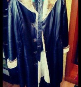 Пальто новое. Натуральный мех и натуральная кожа