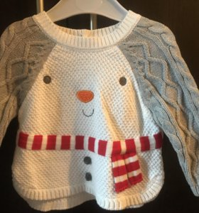 Новогодний детский свитер «снеговик»