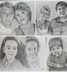 Портреты по фото карандашом