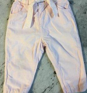 Теплые вельветовые штанишки 9-12 мес с подкладом