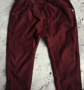 Теплые вельветовые штанишки 3-4 года для девочки