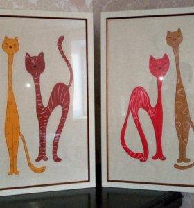 Картины Кошки, большие под стеклом