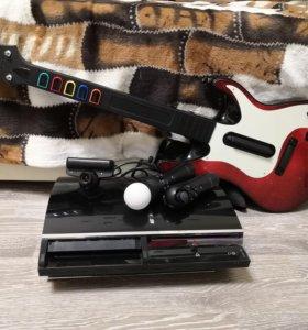 Комплект PS3 с гитарой, барабанами, играми и мувом