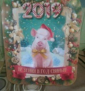 Доска разделочная новая Новогодняя