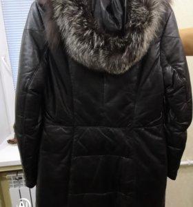 Пуховик зимний натуральная кожа