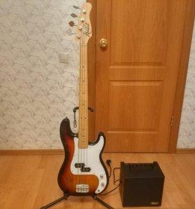 Бас-гитара Rockdale + комбик Ibanez