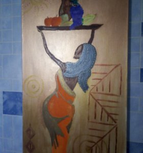 Картина акрилом девушка с подносом