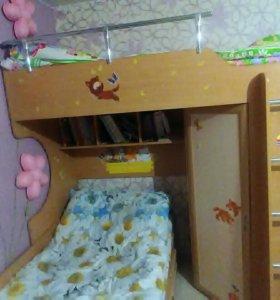 Кровать+кровать-чердак+шкаф+книжные полки