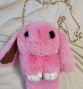 Меховой сумка-рюкзак заяц