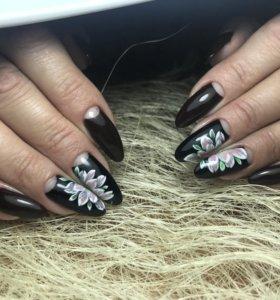 Наращивание ногтей, аппаратный маникюр+покрытие.