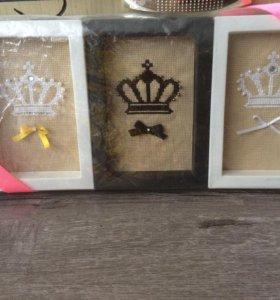 Вышивка крестом три короны