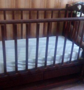 Детская кроватка+бортики и матрас