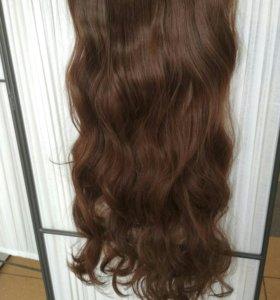 4 цвета волосы на заколках 60 см