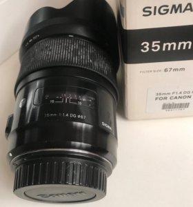 Объектив Sigma 35 f1,4 Canon