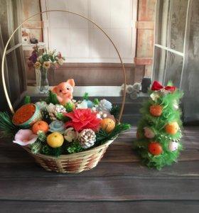 Букет цветов из мыла- Новогодняя корзина.