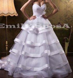 Свадебное платье+фата+шубка+туфли